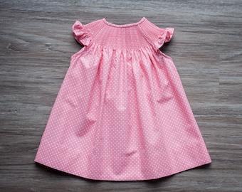 b5bf90f84 READY TO SMOCK pink polka dot bishop dress