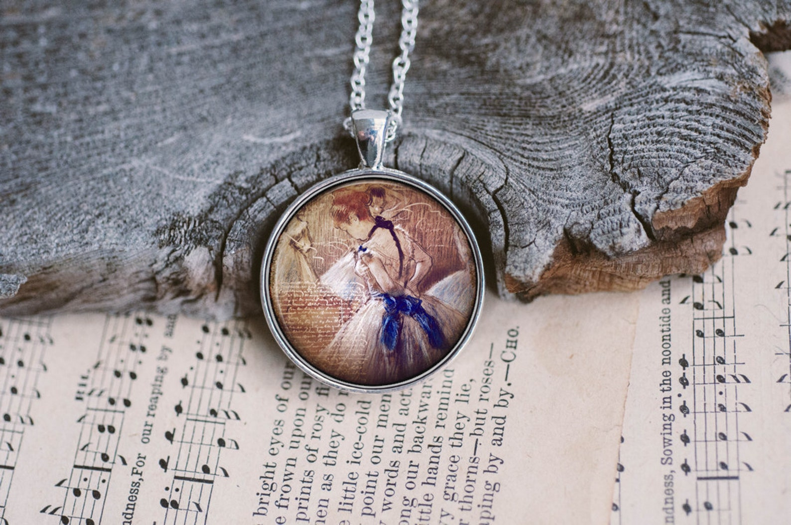 degas ballet, ballerina necklace, dance teacher gifts, dancer gifts, ballet necklace, little ballerina
