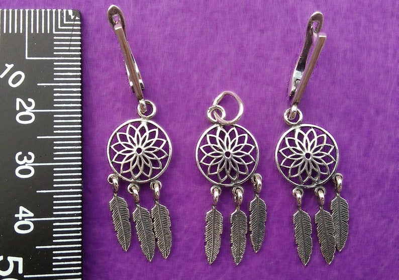 Silver Dreamcatcher jewelry set pendant and earrings sterling silver 925