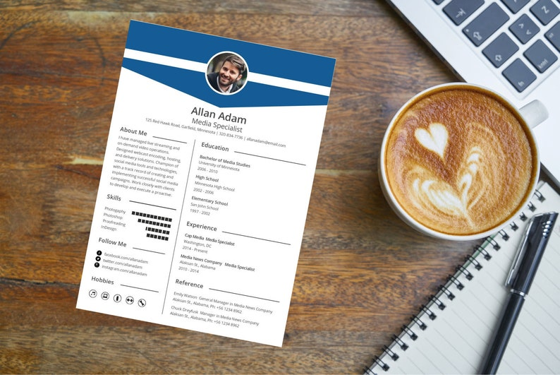Resume Template / CV Template + Cover Letter - Instant Digital Download -  Media Specialist Resume - Professional Resume - With Photo