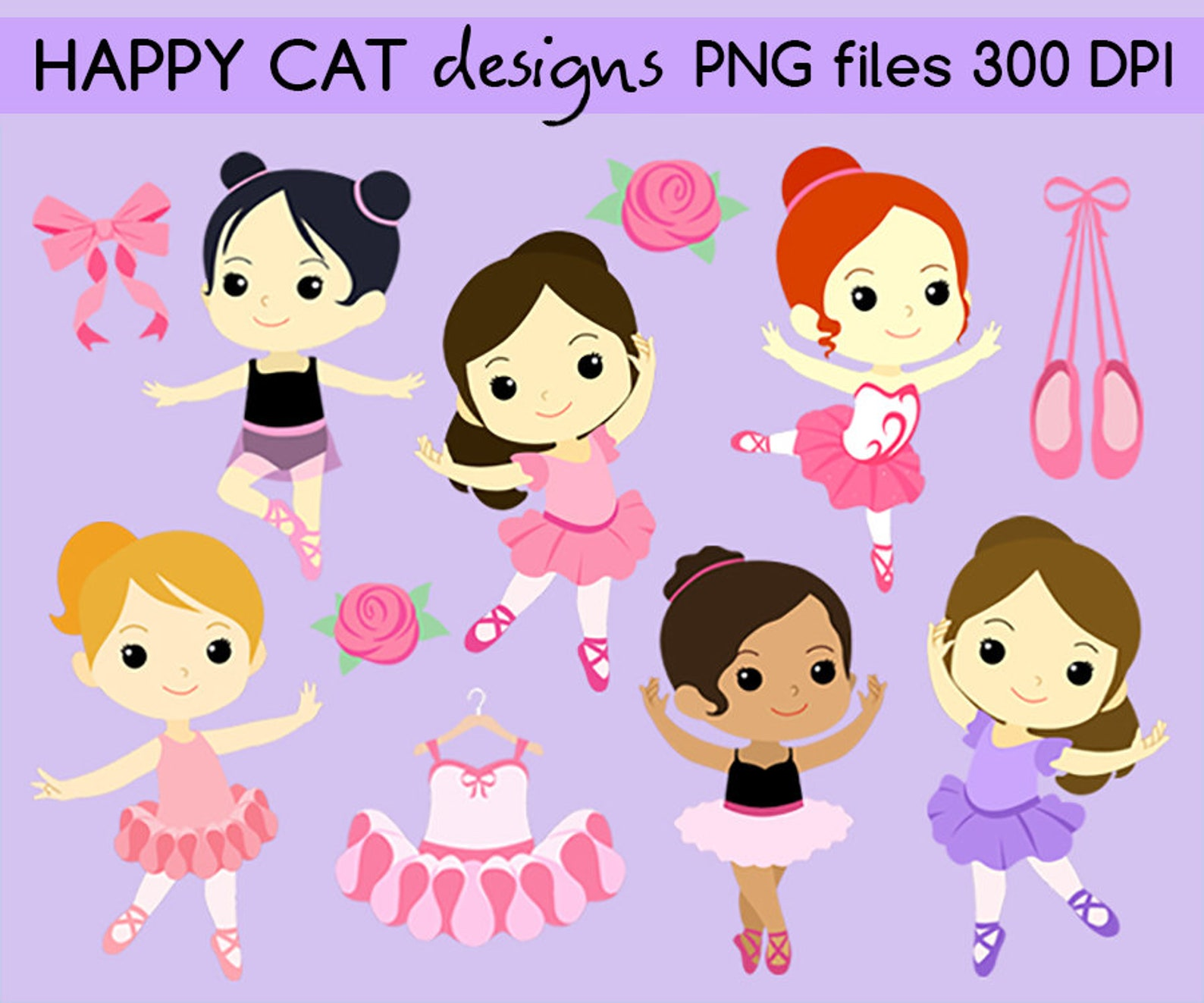 cute ballerina ballet girls clip art set png files 300 dpi - commercial small business use