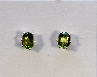 Verdelite Green Tourmaline 4 X 3 mm Oval Cut  Sterling Silver 6-Prong Stud Earrings