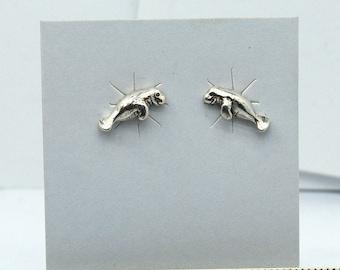 Manatee Sea Cow Sterling Silver Stud Earrings 12 mm wide