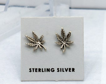New Lighter Weight Marijuana Leaf Dime Earrings Stainless Steel Ear Wires Handmade Cannabis