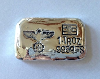 Free gift 5oz COPPER hand poured bar 9999 Imperial German Eagle iron cross.