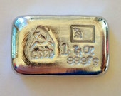 1oz SILVER hand poured bar 999 CCCP USSR soviet communist. Pure solid silver