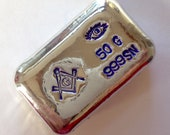 50g hand poured 999 tin bar. Blue FreeMason masonic hand poured bar over 1oz. Bar is not silver it is tin.
