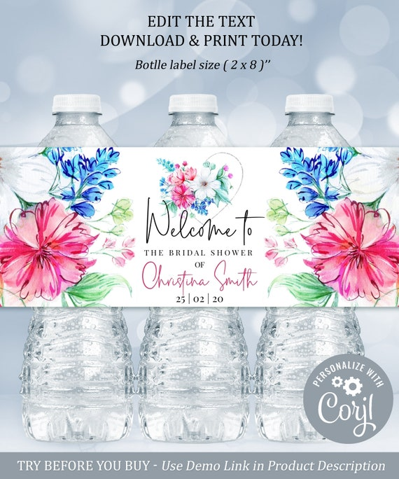 Templett Wedding Place Card Thanks Wedding Favors Thank You Wedding Waterbottle Label INSTANT DOWNLOAD DIY Printable Decorations