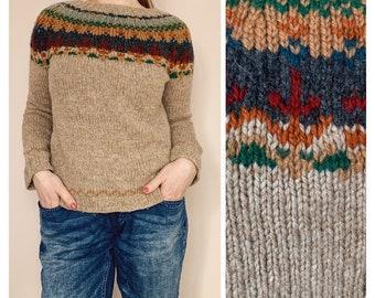 705122d799 Vintage Wool Knitwear - 80s Era Sweater - Retro Sweater - Vintage Fair Isle  Warm Sweater - Nordic Knit - Vintage Chunky Wool Jumper