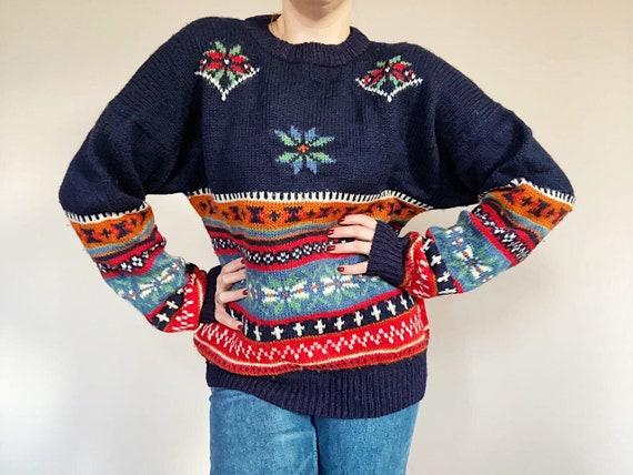 Vintage Wool Knitwear - 80s Era Sweater - Retro Sw