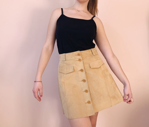 Vintage Suede Skirt - Button-Front Skirt - Retro S
