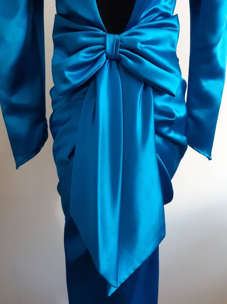 80s Gorgeous Satin Blue Prom Evening Wiggle Dress with Large Bow Detail and Ruched Layered Skirt Mermaid Pinup Shape NuMode Strange Meals