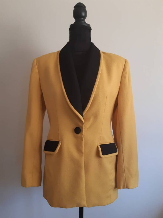 80s 90s Mustard Yellow and Black Eclectic Blazer Jacket with Abstract Button Details Made in Hong Kong Mint Condition Strange Meals