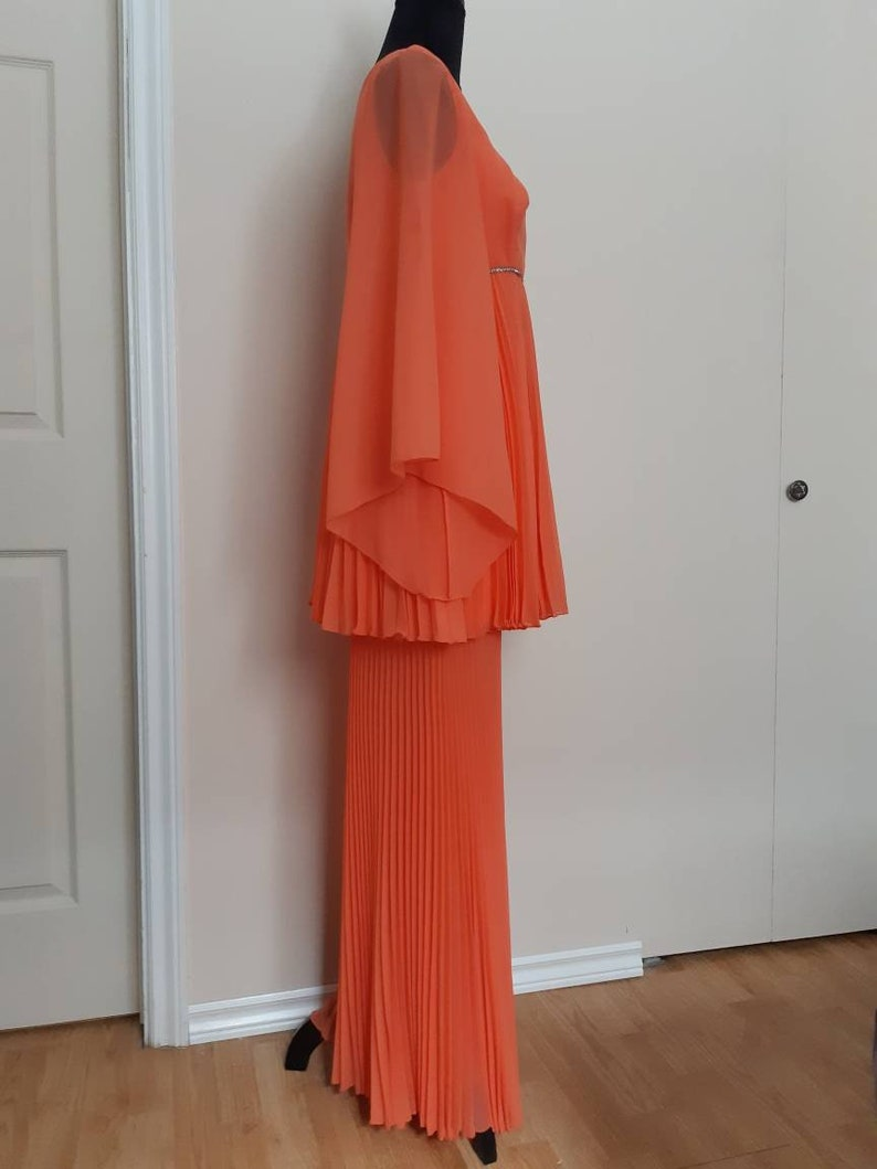 60s70s Handmade One-of-a-kind GradPromFestival Outfit 2pc Pleating and Rhinestones Shear Coral Fabric Babydoll Fit /& Flare Strange Meals