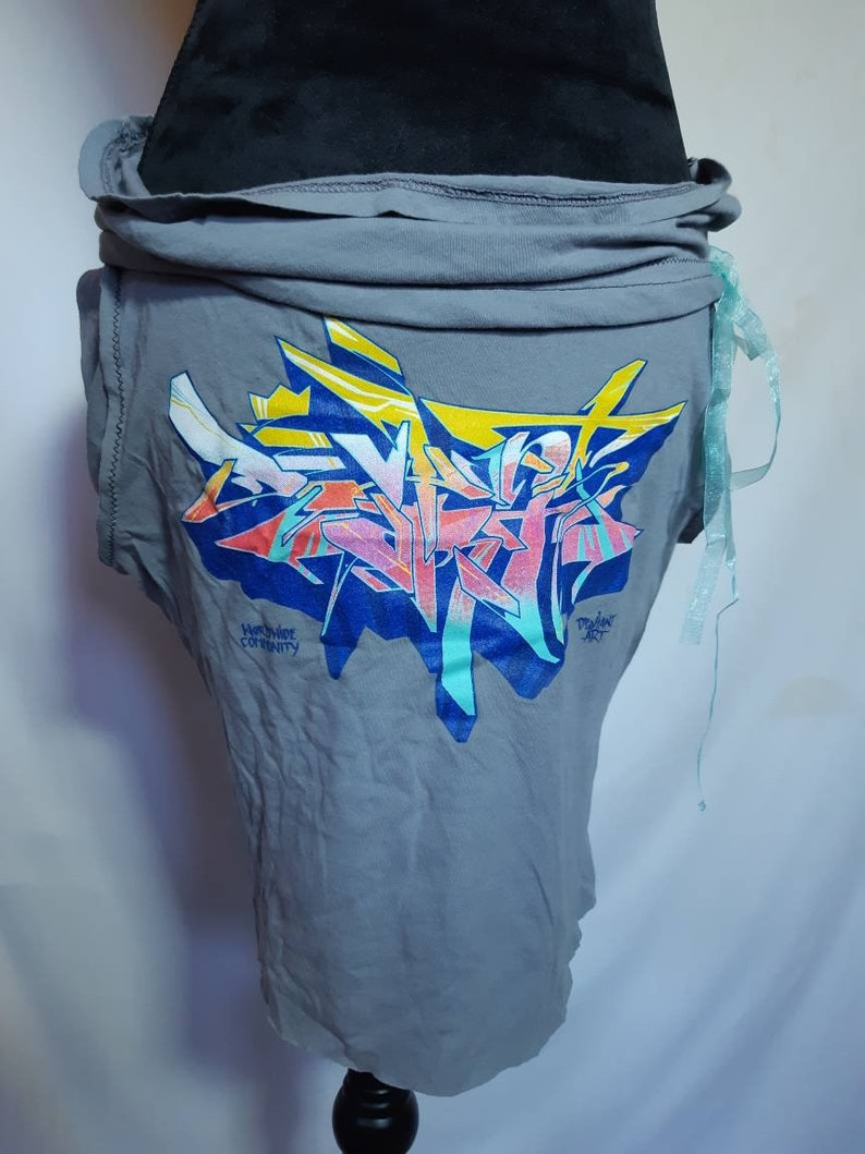 Upcycled Graffiti Artist Aspekt Nelson B.C Classic Big Piece Burner Sunset Colours Grey Blue Hip Hugger Miniskirt Satin Strange Meals