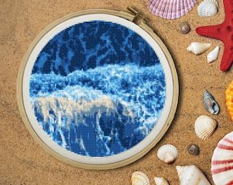 Sea Foam Ocean Cross Stitch Pattern
