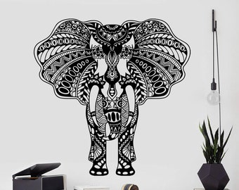 Wall Decal Elephant Full Color Ganesha Animals Boho Style Stickers Bohemian EN13