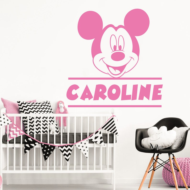 Girl Name Wall Decal Minnie Mouse Decal Baby Room Decor Etsy