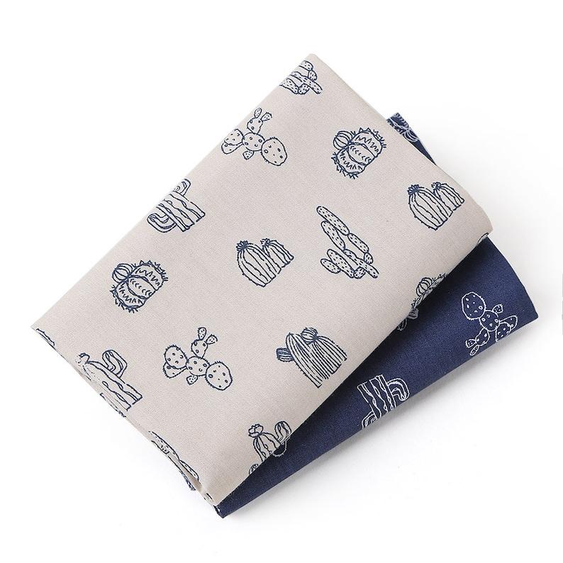 50*40cm 100/% Cotton Fabric Handmade Cactus Patchwork Needlework Sewing Textile  2pcsset