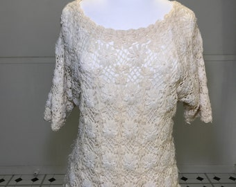 f53531f8f4 Vintage 1950s Hand Beaded Cyn Les 100% Wool Cream Sweater Size LARGE