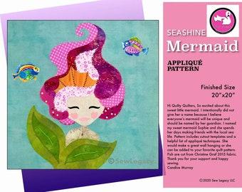 Seashine Mermaid Applique Pattern Digital Download