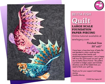 Dueling Betta Fish Quilt Pattern Foundation Paper Piecing Digital Download