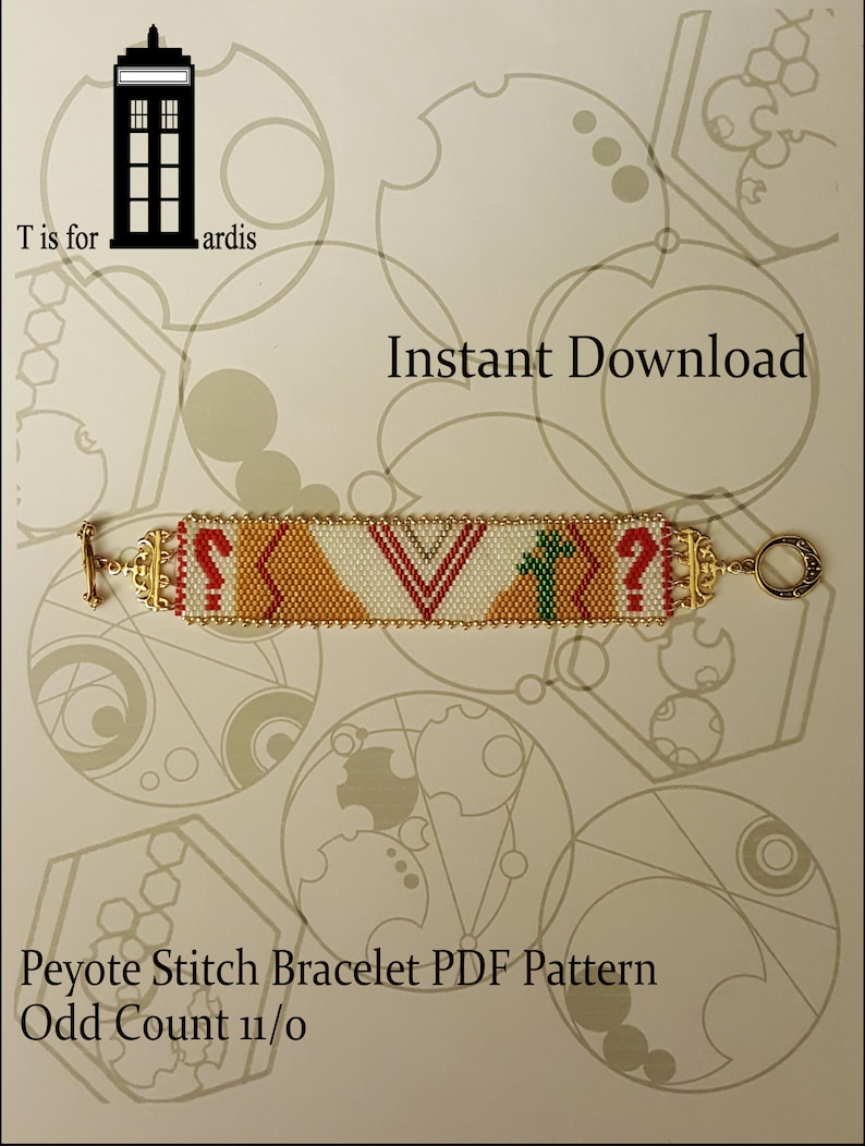 5th Doctor Odd Count Peyote Stitch Beaded Bracelet Pattern  image 0