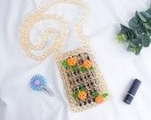 New Summer Fashion Girl Mobile Phone Bag Hand-woven DIY Beaded Bag Lipstick Change Bag Fashion Vacation Leisure Beach Bag
