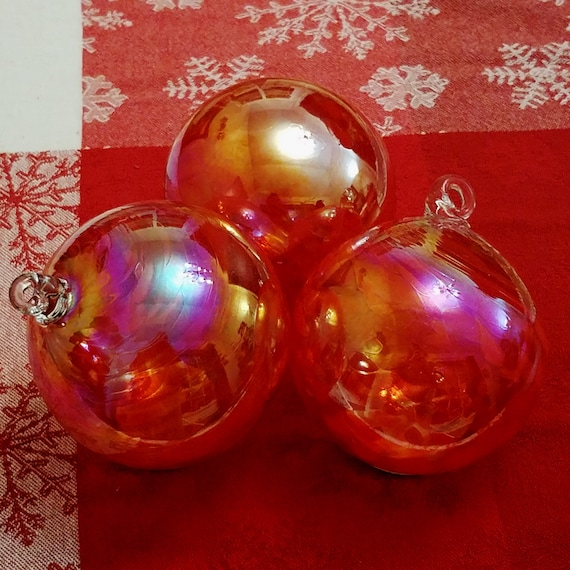 Large Handmade Glass Friendship Ball Gift Red Green White Maroon