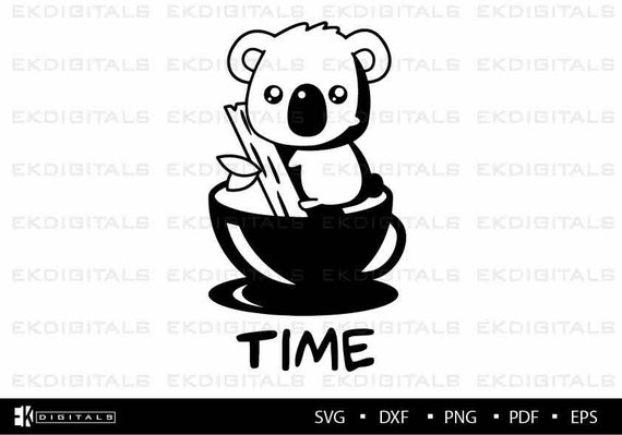 Koala Tea Time Vinyl Logo Decal Stencil Clipart Printable Etsy
