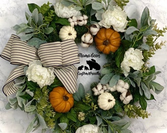 Neutral Fall Wreath, White Pumpkin Wreath, Autumn Wreath, Farmhouse Fall Wreath, Fall Decor, Fall Wreath For Front Door, Rustic Fall Wreath