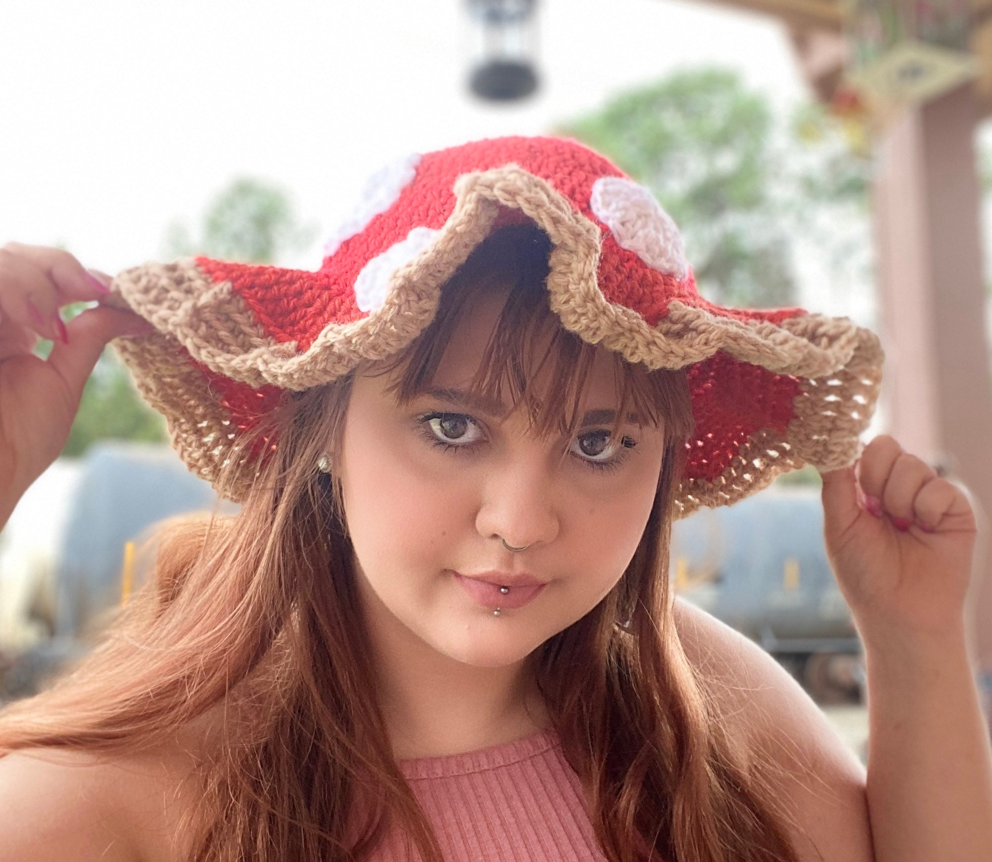 Crochet Spotted Mushroom Bucket Hat Sun Hat Made To Order Customizable