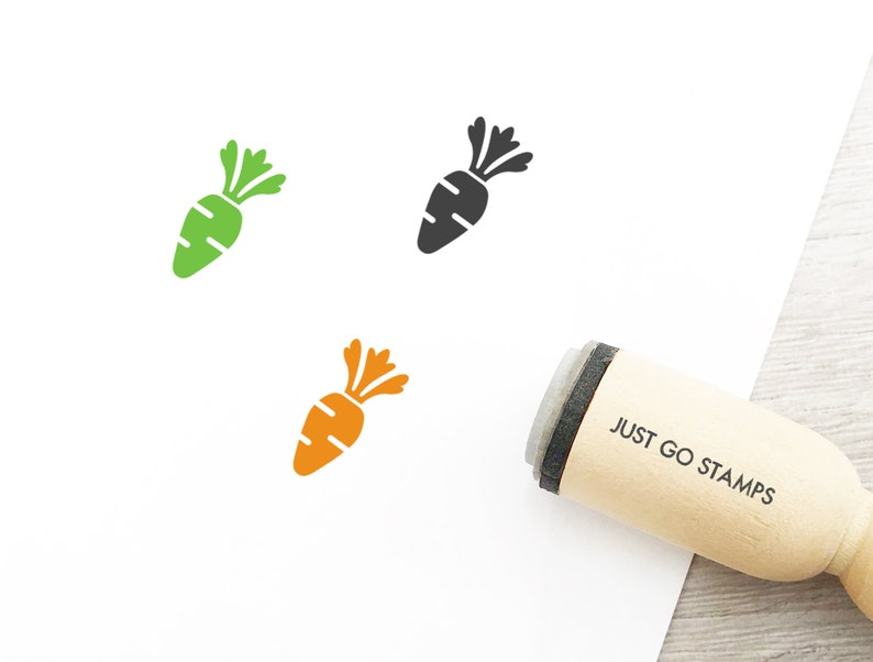 Veggie Stamp Vegetable Stamp Carrot Rubber Stamp \u03a616mm20mm25mm Rubber Stamp