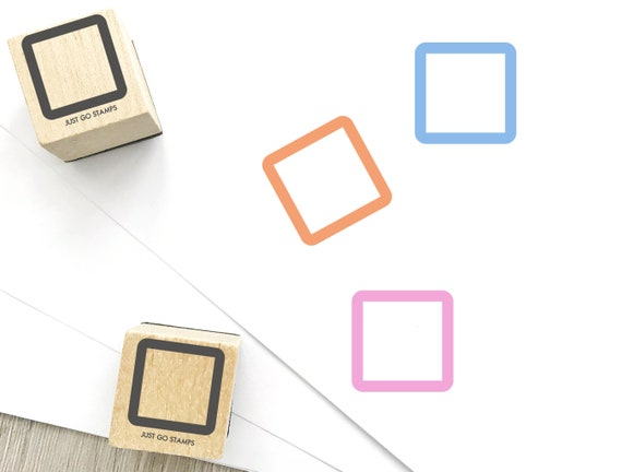 Planner Stamp Square Rubber Stamp S626 16mm Cute Square Stamp 20mm Mini Stamps 10mm Geometry Stamp