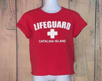 a2c6e91e27b9 Catalina Island Lifeguard Graphic Tee Crop Top (Vintage)