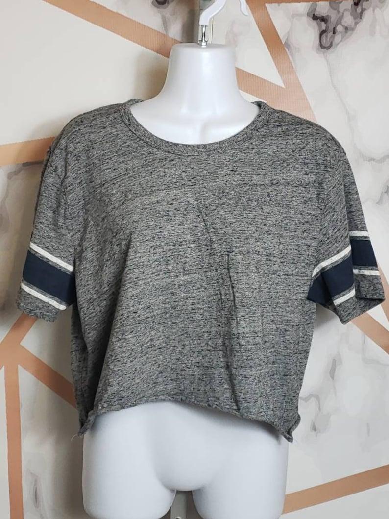 Vintage Plain Grey Sporty Crop Top