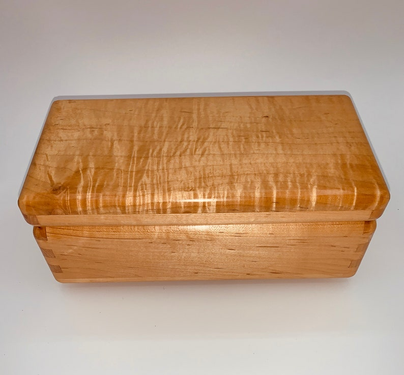 Handmade maple box with  curly maple top