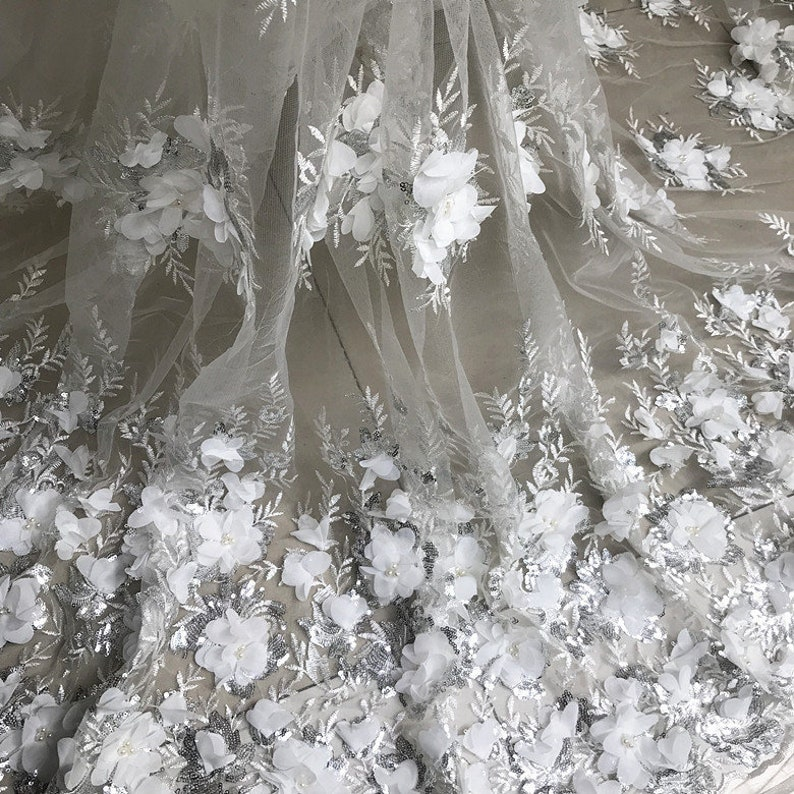 Pear Beaded Blossom Fabric PinkOff White 3D Chiffon Flower Lace Fabric Sequined Embroidered Wedding Fabric 49 Wide 1 Yard