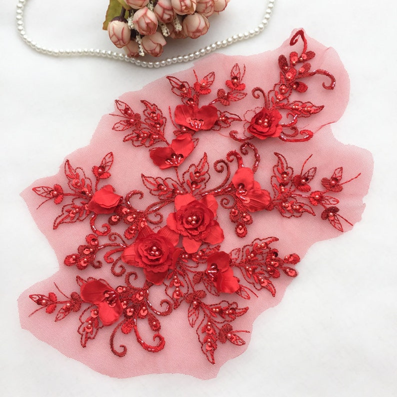 3D Flower Lace Fabric For Wedding Sash Bridal Hair Flower Pink 9 Colors Boutique 3D Beaded Flower Lace Applique in Navy Blue Gold