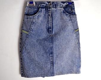 Denim Skirt Vintage Tasar 90s skirt High Waist Denim Skirt Acid Jean Skirt Wash Blue Denim Mini skirt Over The Knee 90s denim skirt small S