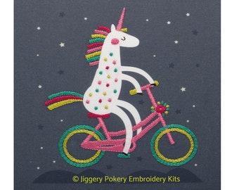 Unicorn embroidery kit. Creative design. Hand embroidery. Gift for child.