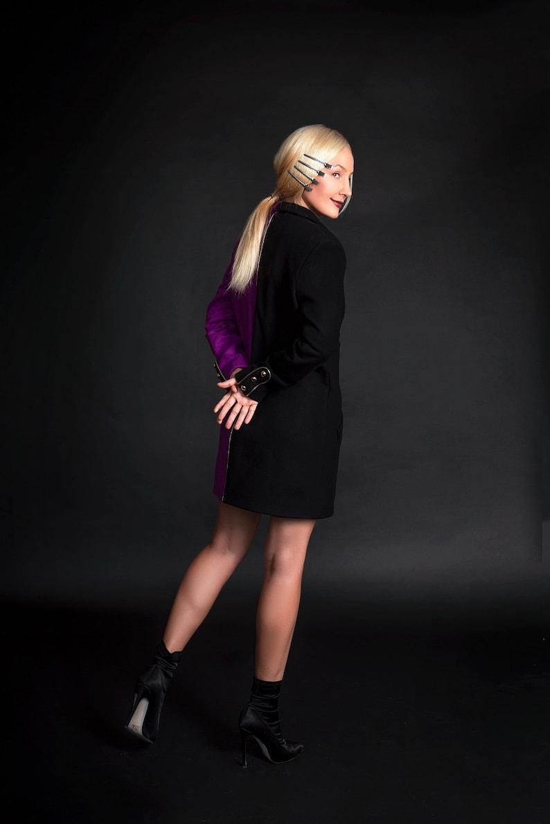 Hand Made Women\u2019s Autumn Two-Tone Strict Coat,Stylish Cashmere Double-Breasted Light Overcoat,Elegant Short Coat,Black And Purple Jacket