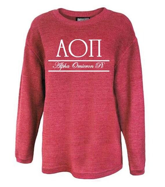 Alpha Omicron Pi Sorority Corded Crew Sweatshirt AOII