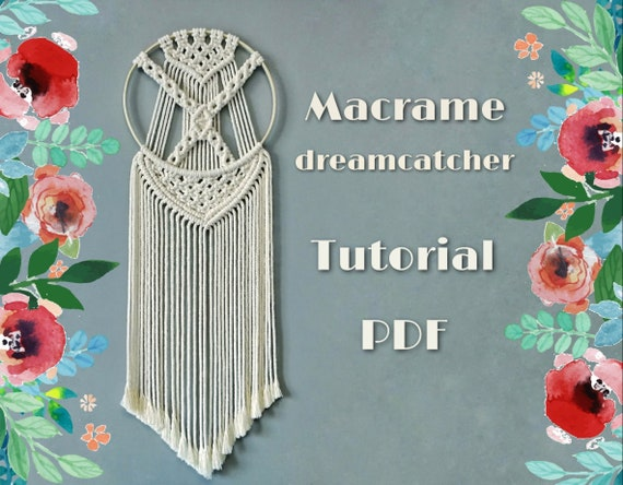 Pdf Macrame Dreamcatcher Pattern Macrame Wall Hanging Diy Etsy