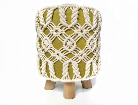Surprising Round Boho Macrame Ottoman Boho Chic Foot Stool Chair Macrame Stool Pouf On Wooden Legs Snowflake Pattern Footstool Housewarming T Ibusinesslaw Wood Chair Design Ideas Ibusinesslaworg