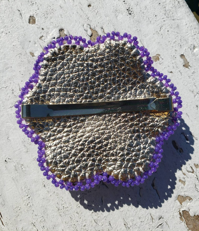 Native American Beaded Purple and Gold Flower Barrette