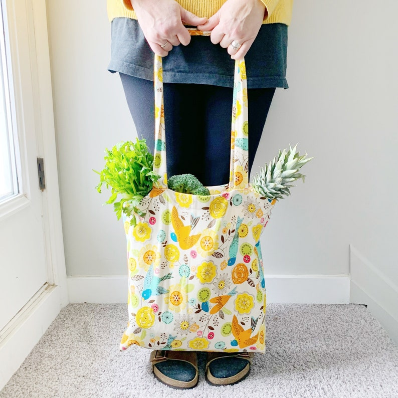 Reusable market tote grocery bag farmers market bag produce image 0