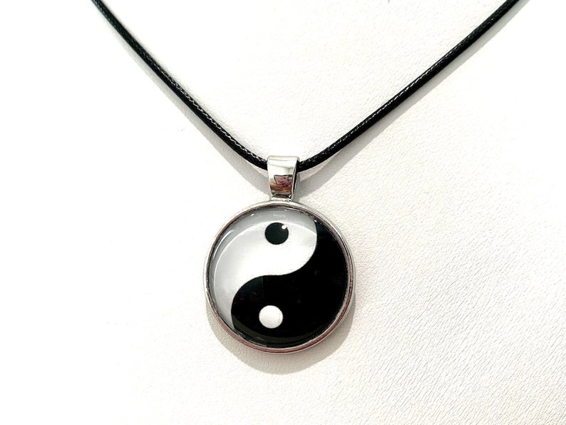 Yin and Yang Pendant Necklace Options: Black Cord, Silver Chain or Keychain