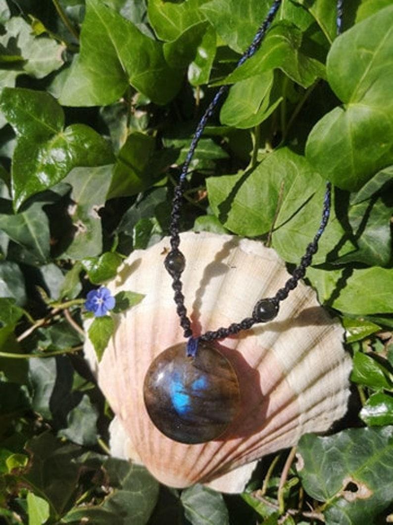 Round Labradorite Talisman against harmful energies. Protective stone carer/'s stone Labradorite necklace in macram\u00e9 yarn