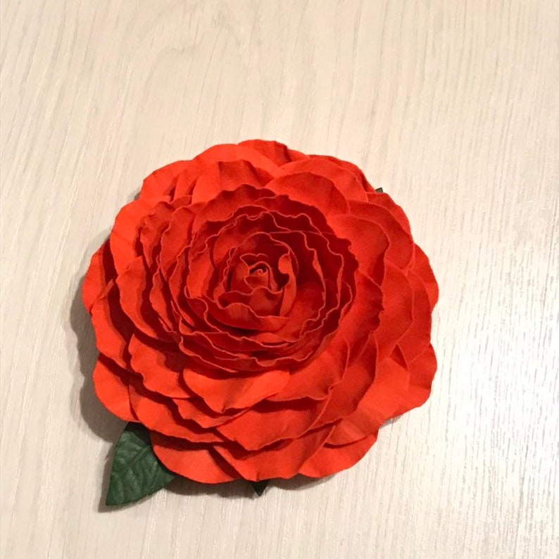 Red Rose Leather French hair barrette triangle women Hair Accessory red flower Ponytail Holder Hand embossed Leather Hair Clip